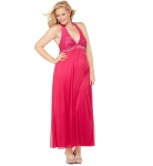 Macy's Ruby Rox Plus Size Dress, Halter Sequined Maxi Empire $39.99